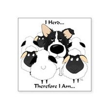 "BorderCollieHerdingLight Square Sticker 3"" x 3"""