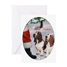 basset hounds christmas text 2 Greeting Card