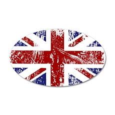 British Flag Punk Grunge 35x21 Oval Wall Decal