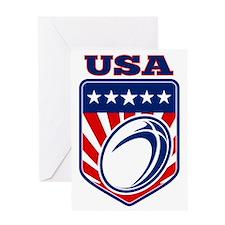 American rugby ball shield USA Greeting Card