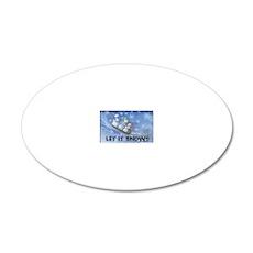 SNOWMEN SLEDDING YARD SIGN 20x12 Oval Wall Decal