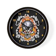 Twin Tribal Dragons and skull Wall Clock