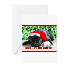 pug in santa Hat Greeting Cards