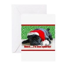 pug in santa Hat Greeting Cards