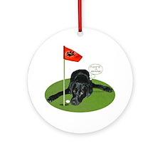 Black Lab Golfer Ornament (Round)