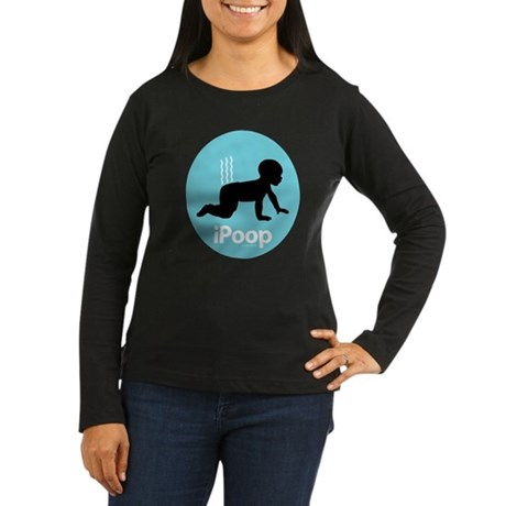 iPoop (Blue) Women's Long Sleeve Dark T-Shirt