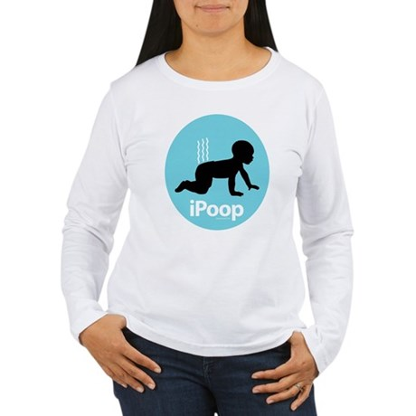 iPoop (Blue) Women's Long Sleeve T-Shirt
