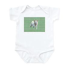 white dog houndstooth Onesie