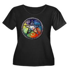 pentacle Women's Plus Size Dark Scoop Neck T-Shirt