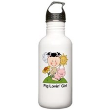 pig lovin girl-001 Water Bottle