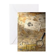 Steampunk Blueprint Greeting Card