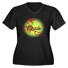 reindeer dan Women's Plus Size Dark V-Neck T-Shirt