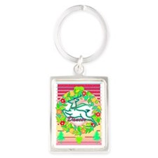 reindeer dancer with wreath copy Portrait Keychain