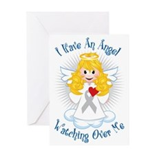 Angel-Watching-Over-Me-Grey-Ribbon-2 Greeting Card