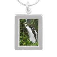 Waikani Falls, Hana High Silver Portrait Necklace