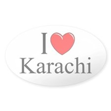 """I Love Karachi"" Oval Decal"