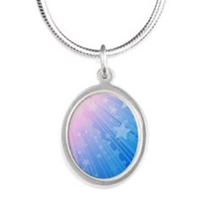 Star Rays Blue iphone 4 slide Silver Oval Necklace