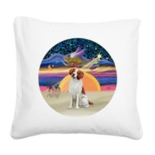 Xmas Star -  Brittany Spaniel Square Canvas Pillow