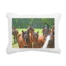Horses on horse farm Oca Rectangular Canvas Pillow