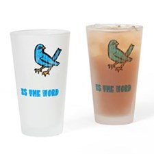 Word Bird blk Drinking Glass