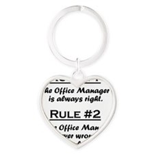 Rule Office Manager Heart Keychain