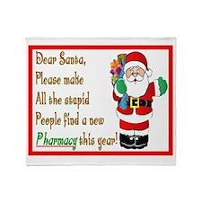 Pharmacy Dear Santa Cards Throw Blanket