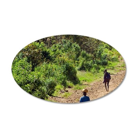People walking on road betwe 35x21 Oval Wall Decal