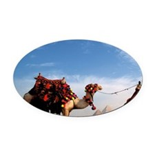 Giza. Camel and guide with Great P Oval Car Magnet
