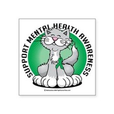 "Paws-for-Mental-Health-Cat Square Sticker 3"" x 3"""