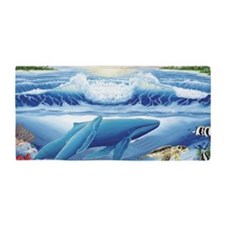 whale and turtle long  Beach Towel