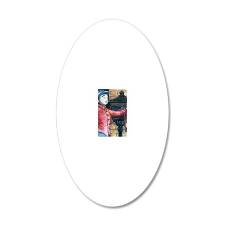 Jockey and Mail Box water co 20x12 Oval Wall Decal