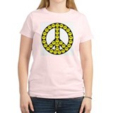 Peace Smilies Sign Women's Pink T-Shirt