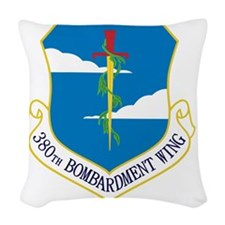 380th Bomb Wing - Blue Woven Throw Pillow
