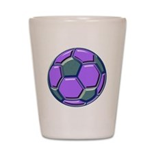soccer glass bev purp blue Shot Glass