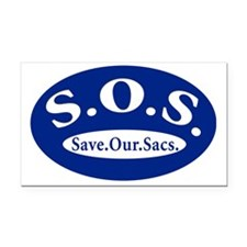 SOS_oval Rectangle Car Magnet