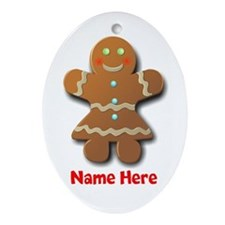 Gingerbread Woman Ornament (Oval)