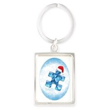 autism_ornament_oval1b Portrait Keychain