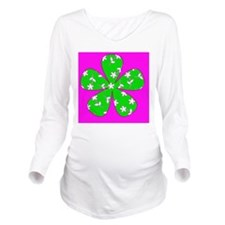 Pink Green Floral De Long Sleeve Maternity T-Shirt