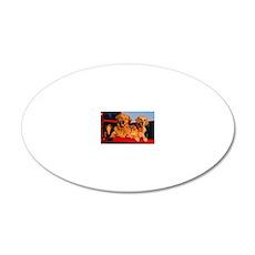 Golden PU rec magnet 20x12 Oval Wall Decal