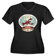 Maine Lobste Women's Plus Size Dark V-Neck T-Shirt