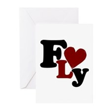 Fly (Heart) Greeting Cards (Pk of 10)