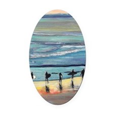 surfers oceanside california by Ri Oval Car Magnet