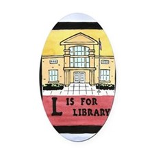 LisforLibraryJournal Oval Car Magnet