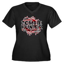 Zombie-Hunte Women's Plus Size Dark V-Neck T-Shirt