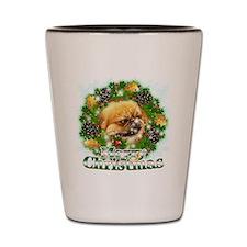 Merry Christmas Pekingese Shot Glass