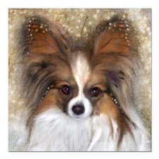 "Butterfly Ears Papillon Square Car Magnet 3"" x 3"""