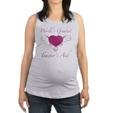 Heart_TeachersAid Maternity Tank Top