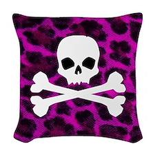 Skull Purple Leopard Woven Throw Pillow