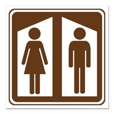 "brown_restroom_sign_real Square Car Magnet 3"" x 3"""