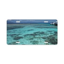 Snorkelers and Reef, Green  Aluminum License Plate
